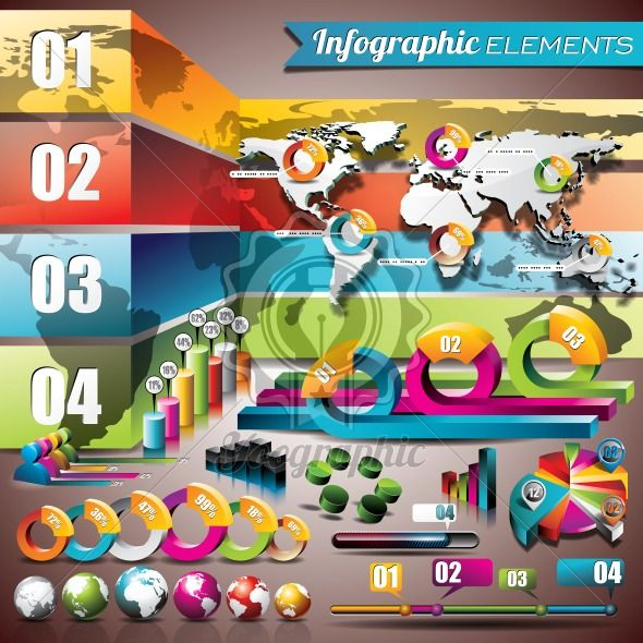 Vector design set of infographic elements. World map and information graphics. EPS 10 illustration - Royalty Free Vector Illustration