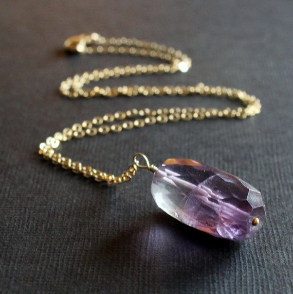 Faceted Amethyst Necklace 14 karat Gold Filled Chain
