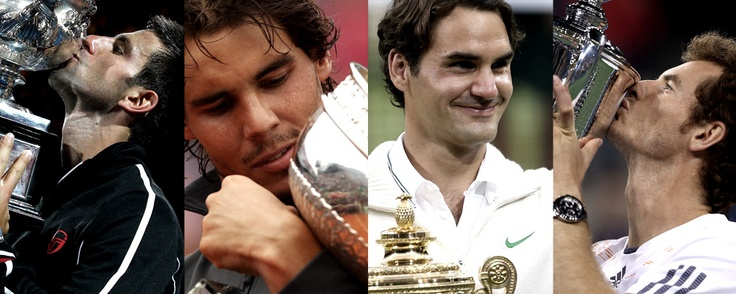 The four big guns with their trophies #tennis