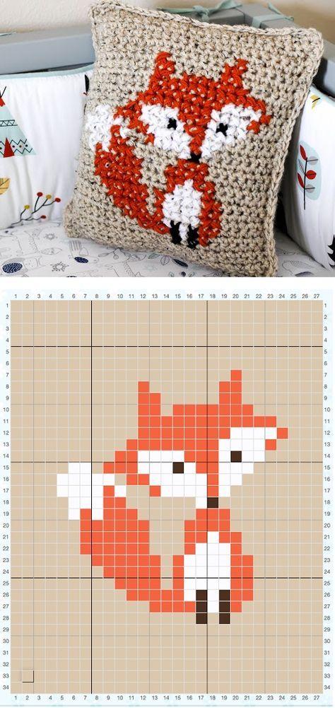 Motif de renard au point de croix (ici sur du crochet) - tutoriel