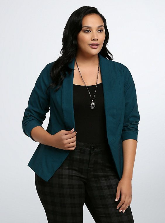 Open Front Blazer, DEEP SEA TEAL