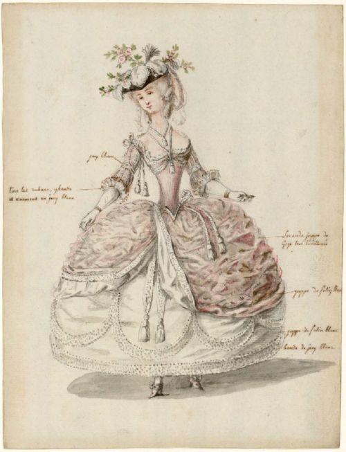 1785. Court dress, Versailles.