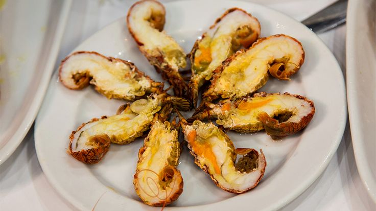 Witches lobsters (aka sea locusts) at Ramiro Restaurant : Bizarre Foods : TravelChannel.com