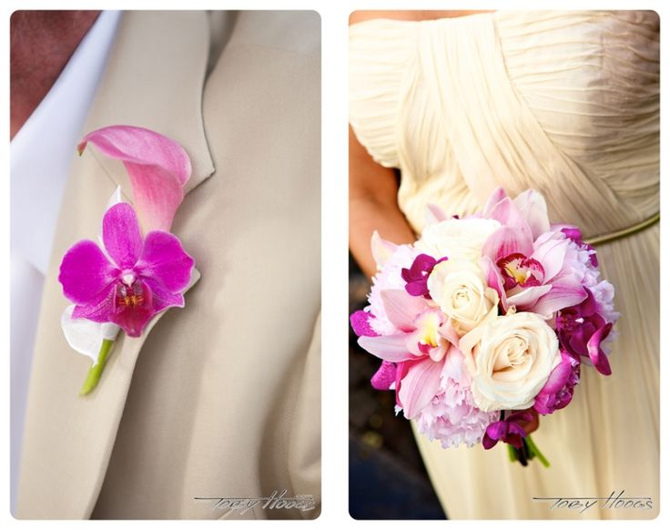 Calla lilly and dendrobium orchid boutonniere; Rose, orchid and peony bridesmaid bouquet-Flowers by Heidi, Four Seasons Resort Hualalai Weddings