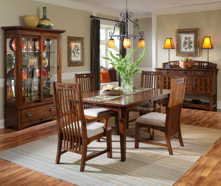 Broyhill Furniture Artisan Ridge Dining Room Collection Featuring Curio With Sliding Doors 5