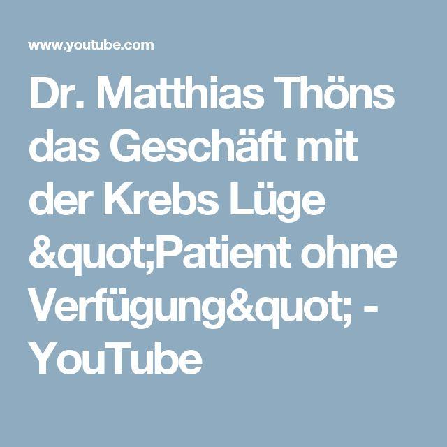 """Dr. Matthias Thöns das Geschäft mit der Krebs Lüge """"Patient ohne Verfügung"""" - YouTube"""