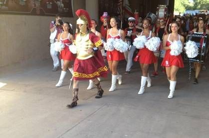 Stanford band leader dresses as USC Trojan