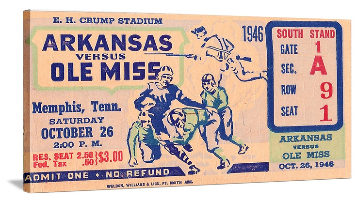 Ole Miss football tickets! The best vintage football tickets like this 1946 Mississippi football ticket. See more Ole Miss football tickets at http://www.shop.47straightposters.com/Mississippi-Football-Tickets-Ole-Miss-and-Mississippi-State_c50.htm