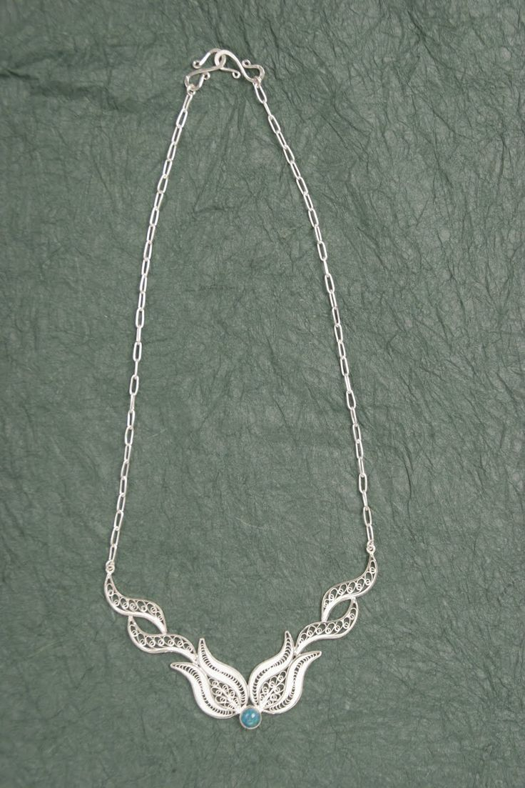 Silver Filigree Tulip Necklace with Stone from Bridge of Hope in #Peru