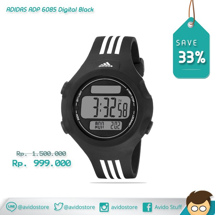 Information about Adidas ADP 6085 Digital Black Watch Original :  A rich black case and strap, white 3-stripes and a positive digit display deliver a classic aesthetic to the hallmark Questra.  Case Size approx : 42 mm Case Thickness approx : 13 mm Band Width approx : 18 mm Water Resistant 5 ATM Case Material : Plastic/Resin Strap type : Rubber