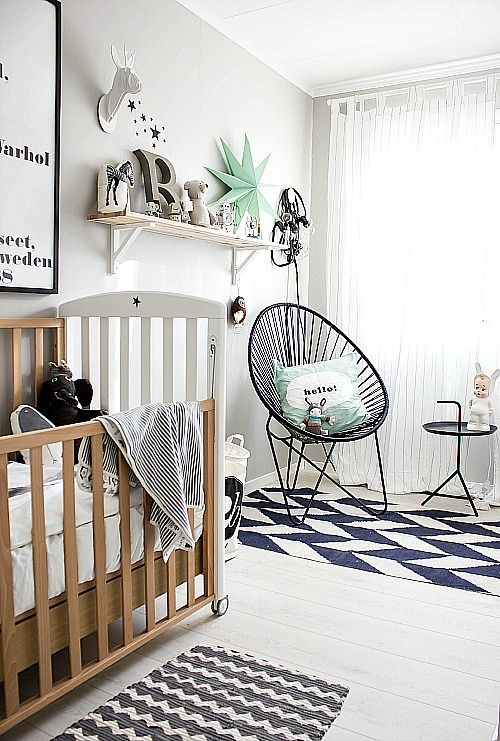 very graphic grey baby room by Penelope Home