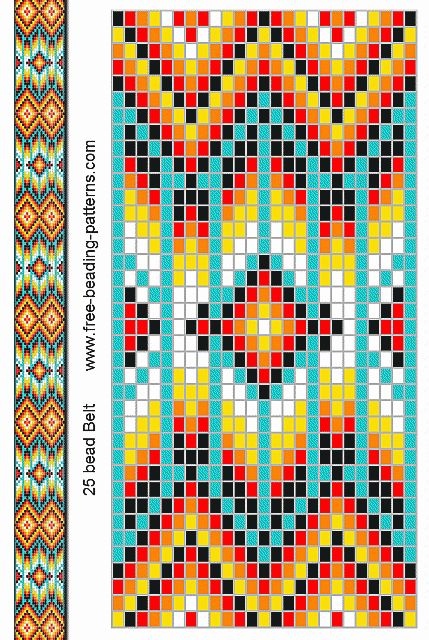 Free Native American Beadwork Patterns | native-american-beadwork-group2-turquoise-belt