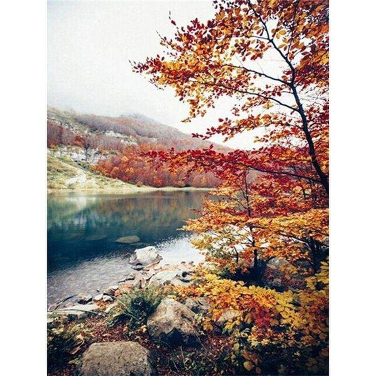 Fall river landscape Diamond Painting DIY kit Canvas Painting