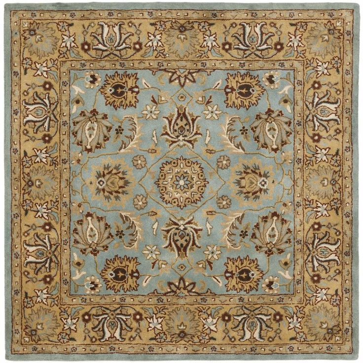 Heritage Hand Tufted Blue And Gold Wool Area Rug 6 X Square