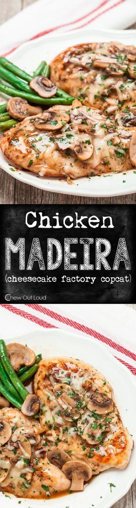 Chicken Recipes - Chicken Madeira - Cheesecake Factory Copycat Recipe via Chew Out Loud - This is SO delicious! #chickenrecipes #popularchickenrecipes #chicken #easychickenrecipes #chickenbreastrecipes #easylunches #easydinners