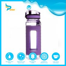 Heat-resisted unbreakable glass sparkling water bottle 3 gallon glass water bottle with silicon sleeve
