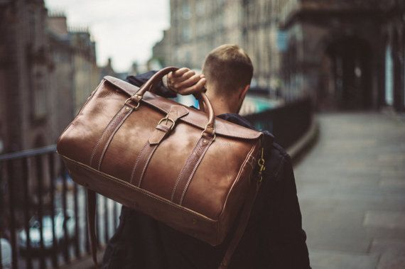 Men\u0026#39;s Leather Duffle Bag, Classic Travel Holdall, Cabin Luggage ...