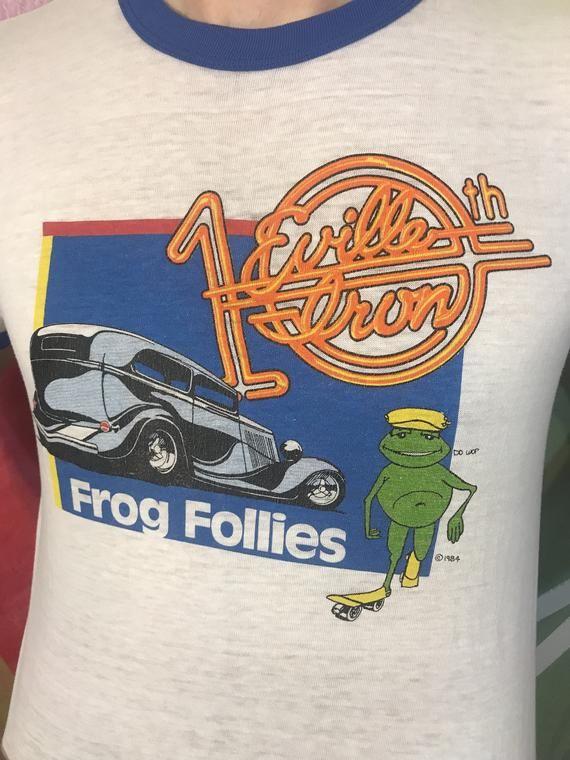 E'ville Iron 10th Annual Frog Follies Street Rod Fast Furious Classic Car Show Racing White Blue Ringer T Shirt Tee Medium 1980s 80s 1984