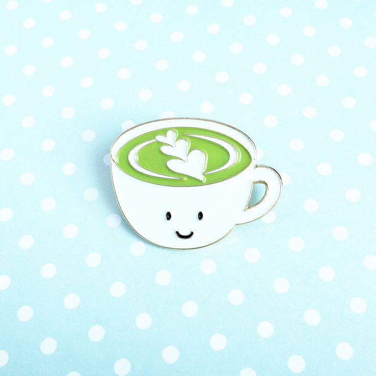 Matcha Latte Enamel Pin - cute cartoon green tea drink cup lapel by queeniescards on Etsy https://www.etsy.com/uk/listing/468130335/matcha-latte-enamel-pin-cute-cartoon