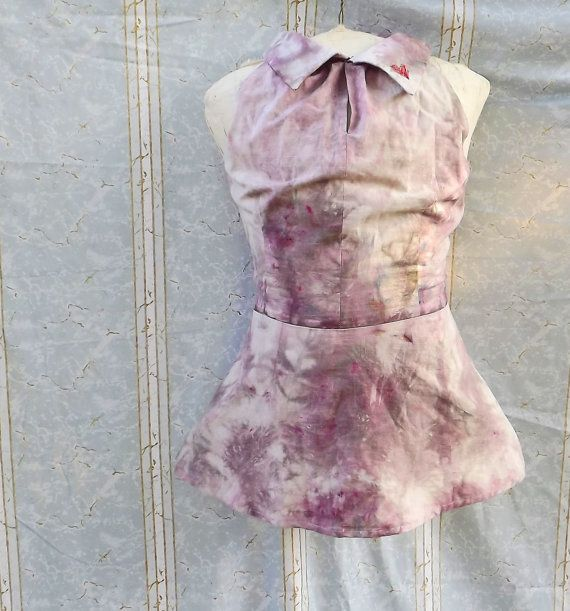 Peplum Top Medium Dusty Rose Cotton Hand Dyed Red by GraceAtieno, $60.00