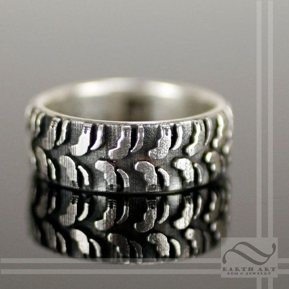 Mens Earth Tire Tread Ring Sterling Silver