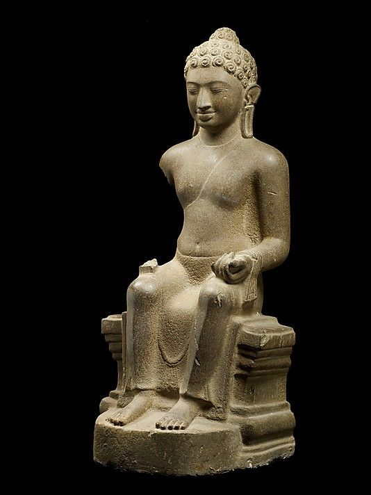 Enthroned Buddha, late 6th–7th century. Southern Vietnam. Lent by National Museum of Vietnamese History, Ho Chi Minh City (BTMT 186) | This sophisticated rendering of the enthroned Buddha seated in bhadrasana (with pendant legs) is the only known example from the Mekong region of this Buddha type popularized in the Mon territories of seventh- and eighth-century Thailand. #LostKingdoms