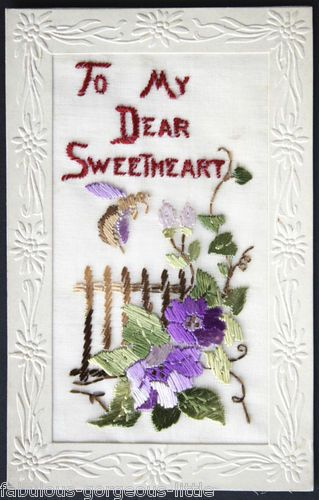 """WW1 Silk Embroidered Postcard Bee Insect Flowers Fence """"to My Dear Sweetheart"""" 