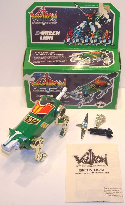 The Green Lion figure, with box, accessories, and manual, from Matchbox's 1984 run of Voltron toys