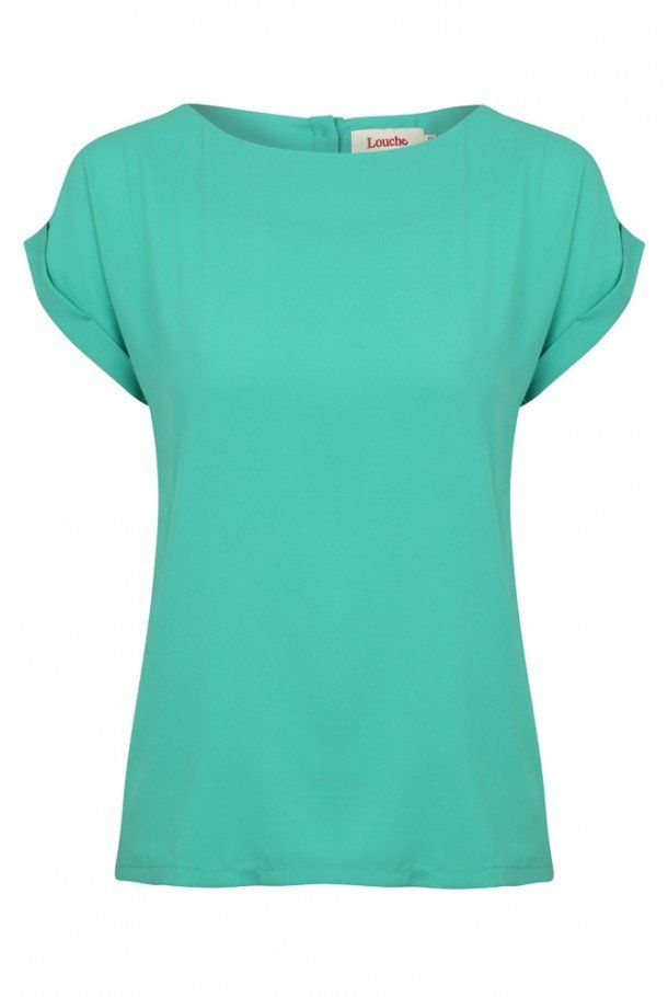 Green Plain Turn Cuff Top