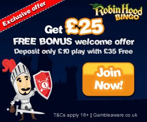 Robin Hood Bingo Exclusive Offer's! 2 Days of Free Bingo No Deposit Sign Up Bonus Daily Free Bingo Money Play For Free Win for Real Play Roulette for Free Free Casino No Deposit Free Scratch Cards No Deposit Add £10 Get £25 Free play to open a world of Free Bingo games, promotions and bonuses galore Collect these exclusive offers quickly! Use code Bingo for even more than quoted above! http://www.initto-winit.com/bingo/robin-hood-bingo/ Find Us Online For The Very Best In Gaming…