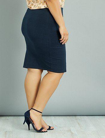 Falda tubo de punto elástico                                                                 azul Tallas grandes mujer  - Kiabi