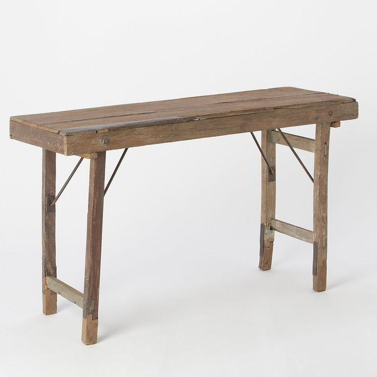 Reclaimed folding console table console tables consoles for Table console retractable