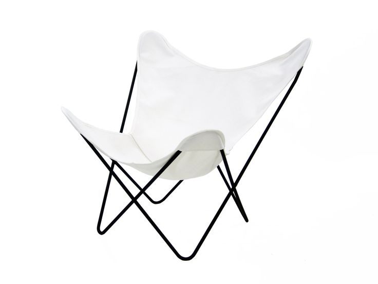 Vintage Knoll Hardoy BKF Butterfly Chair with White Canvas