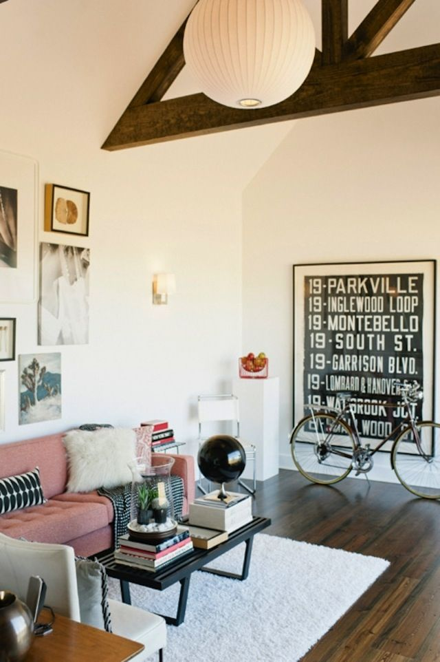wall art + bike: Interior Design, Decor, Idea, Living Rooms, Sweet, Pink Couch, Livingroom, House, Space