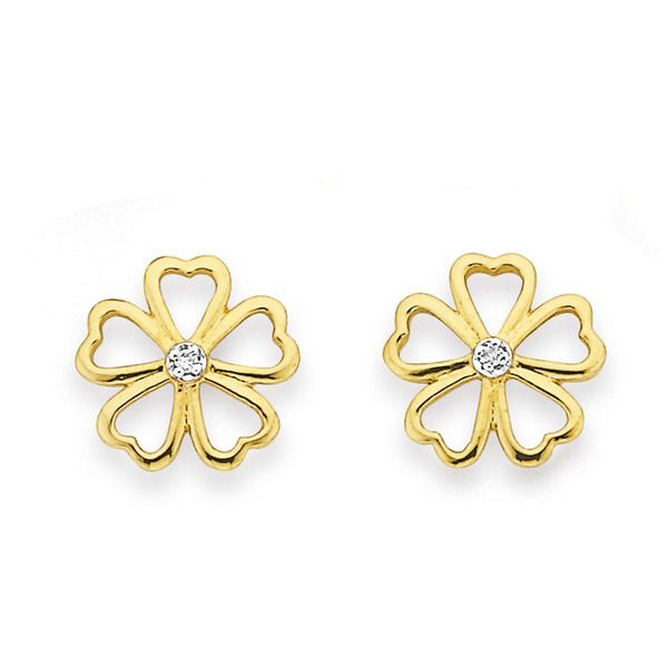 These Diamond Set Flower Studs are just adorable!