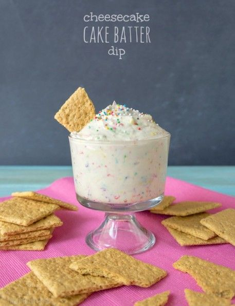 Cheesecake Cake Batter Dip    Ingredients    8 oz package of cream cheese, room temperature  1/2 cup sour cream  1/2 cup white cake mix  1 cup powdered sugar  1 tsp vanilla extract  1/4 cup sprinkles  Graham Crackers for dipping  Instructions    Place cream cheese in your mixing bowl and beat on medium high speed for 3 minutes, or until it becomes