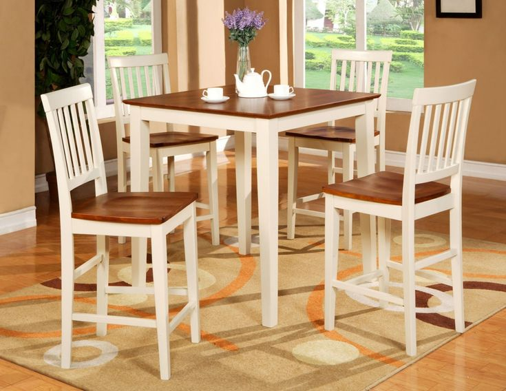 5pc Square Pub Counter Height Table Set 4 Stools White