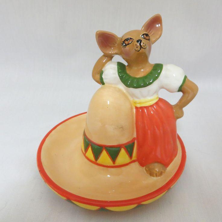 "Mexican Girl Chihuahua Dog Hat Sombrero Salt Shaker Clay Art Ceramic 4"" #ClayArt"