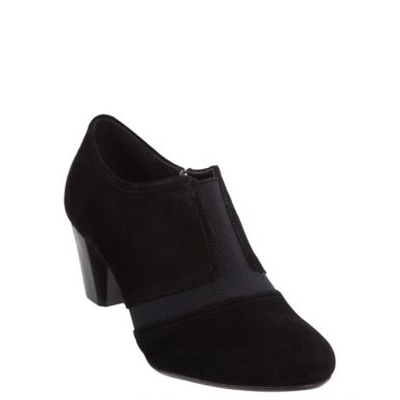 Hush Puppies - Ballet - Heeled Boots (Black Suede )  100% Genuine leather shoe boots. The Hush Puppies Ballet shoes have a rounded toe, ribbed elasticised panels on the upper and a zip fastening at the side. Boasting a smooth leather upper, the shoes have enclosed heel and a stacked 6cm heel.  Available at www.shoesonline.com.au