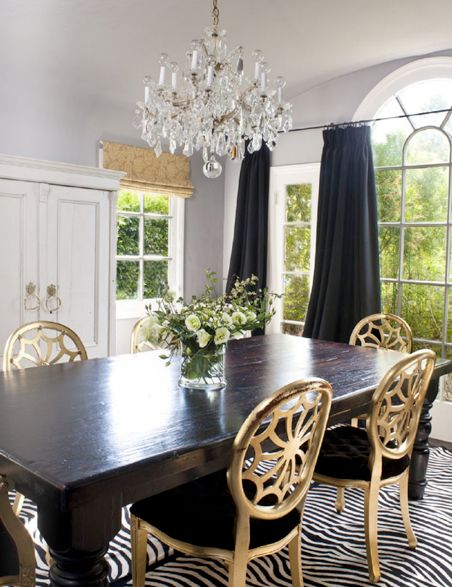 Zebra Rug And Gold Dining Chairs