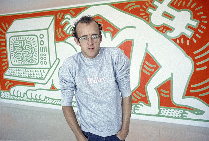 #KeithHaring photographed in front of his Mural, at the #WalkerArtCenter, 1984  JKLFA.com   Follow the #KeithHaring #Pinboard on #Pinterest, curated by @Joseph Cohen Jonge K. Levene Fine Art, Ltd.     JKLFA  http://pinterest.com/jklfa/keith-haring/