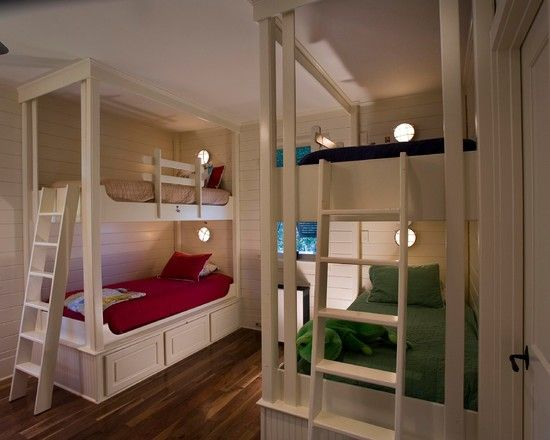 Bunk bed ideas bunk beds pinterest bunk bed for How to build a bunk room