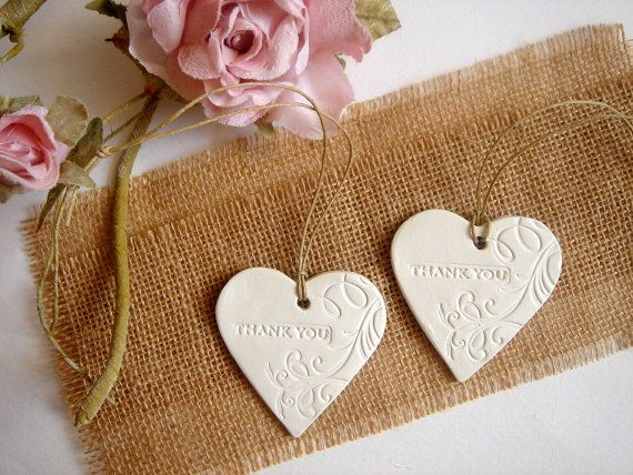10 Ceramic Hearts Thank You Tags Wedding Favor Clay Tag Heart
