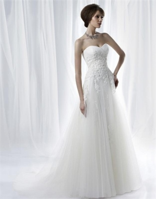 www.balllily.com $259 White A Line Tulle Lace Anjolique  Wedding Dress  AWD021