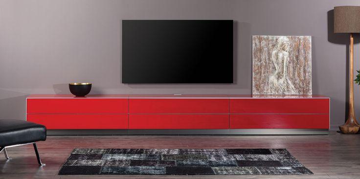 Kırmızı renk Televiyon ünitesi Çekmece düşer kapak seçenekleriyle.