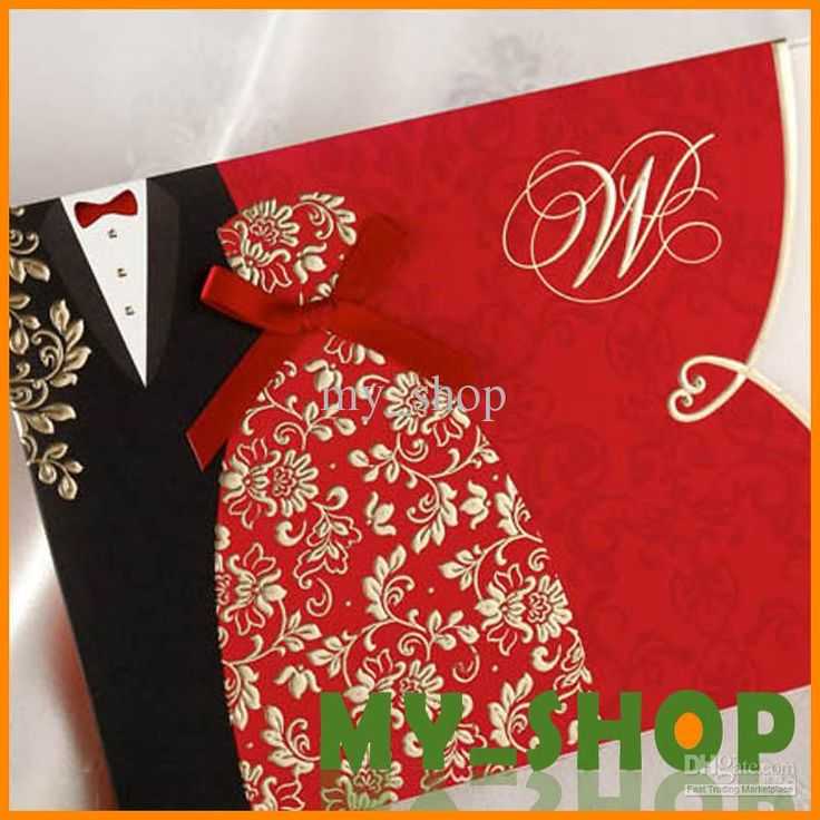Wholesale Black and Red DIY Dress Stamping Uneven Marriage Invitation FeDex DHL Wedding Invitation card, Free shipping, $1.36/Piece | DHgate