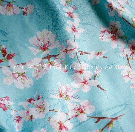 Cherry Blossom. Sakura-Stoff. Japanische Blumen. von JPfabric