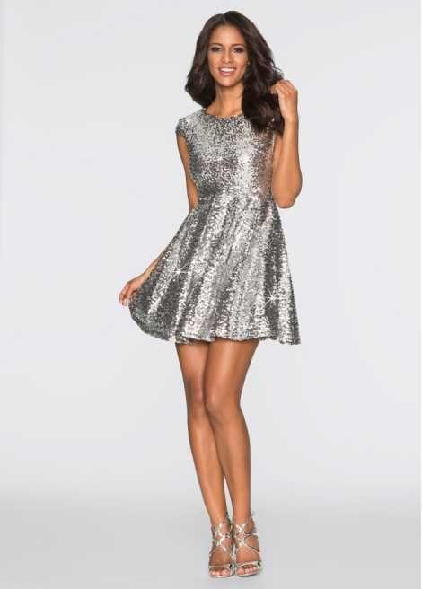Jetzt anschauen: Ein echtes Schmuckstück! Glamouröses Paillettenkleid in Mini-Länge. Nur Handwäsche. Länge in Größe 38 ca. 86 cm.