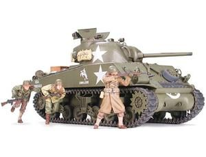 The Tamiya 1/35 US M4A3 Sherman with 75mm Gun is a plastic model kit in the Tamiya 1/35 Military Plastic Model Kits. This plastic kit requires paint and glue to complete.    It was late 1944 and Germany was clearly losing the war. Russia was closing in on the Eastern front while American bombing raids were devastating German cities.