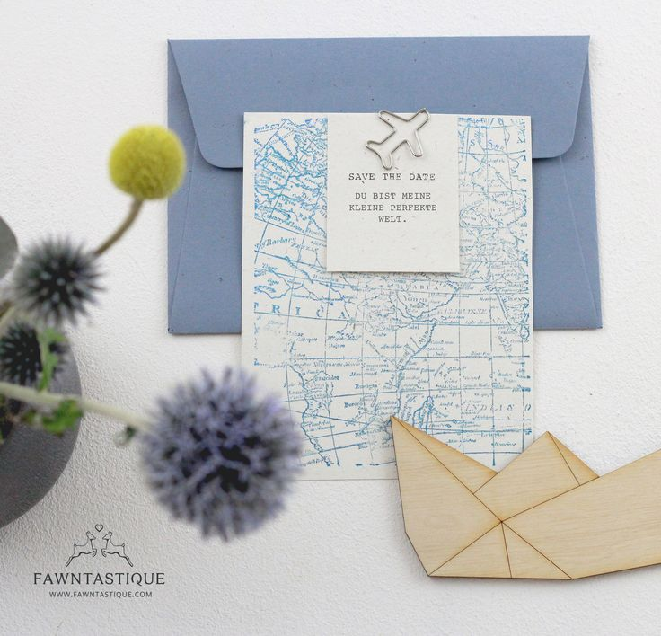 blue wedding invitation | world map